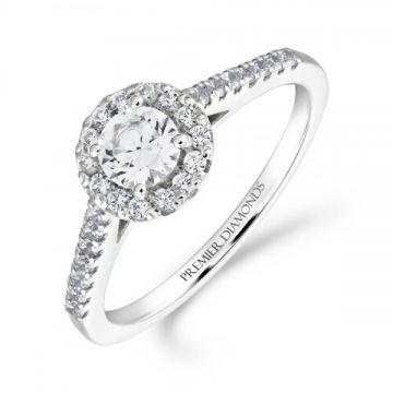 Elegant round brilliant cut diamond halo cluster ring with diamond set shoulders 0.65 carat