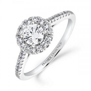 Elegant round brilliant cut diamond halo cluster ring with diamond set shoulders 0.80 carat